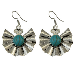 E-3699   Retro Ethnic Tibetan Silver Fan Shaped Hook Earrings Natural Turquoise Beads Dangling Earrings Tribal Jewelry