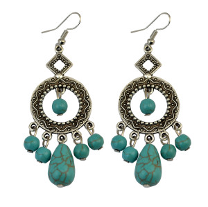 E-3700  Bohemian vintage sliver plated metal round blue turquoise beads waterdrop tassel dangle earrings for women jewelry