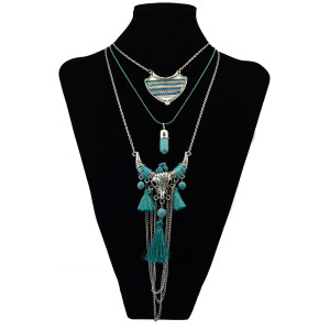 N-6077  Bohemian style silver plated multi-layer long chain turquoise bull pendant necklace jewelry