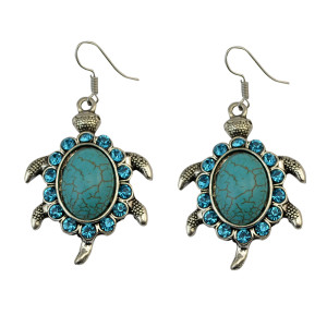 E-3698   New Fashion Silver Plated Alloy Green Oval Turquoise Rhinestone Turtle Hook Dangle Earrings Females Jewelry