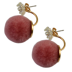 E-3709  New 2016 unique design statement fashion  ball plush stud earrings for women jewelry