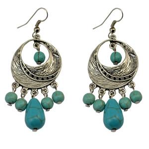 E-3707  2 Designs Bohemian Vintage Tibet Silver Circle Hoop Turquoise Beads Drop Dangling Earrings For Women