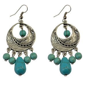 E-3707  2 Designs Bohemian Vintage Tibet Silver Circle Hoop Turquoise Beads Drop Dangling Earrings For Women