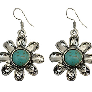 E-3706 Retro Ethnic Tibetan Silver Flower Hook Earrings Natural Turquoise Beads Dangling Earrings Tribal Jewelry