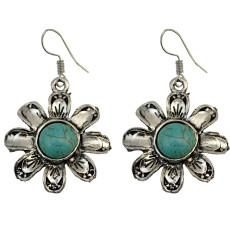 E-3706 Retro Ethnic Tibetan Silver Flower Hook Earrings Natural Turquoise Beads Dangling Earrings Tribal Jewelry