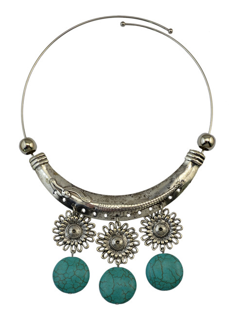 N-6082  Bohemian Style retro silver plated 3types turquoise moon shape pendant necklace