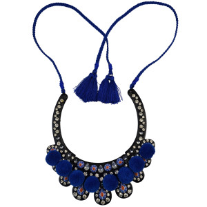 N-6084  Bohemian Necklaces & Pendants Black Zinc Plated Natural Stone Red And Blue Rope Chain Tassel Cotton Balls Charm Crystal Rhinestone Bib Statement  Necklace Women Jewelry