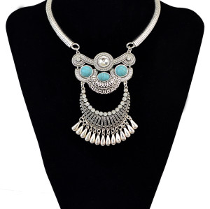 N-6095  2016 New Fashion bohemian style silver plated alloy moon shape waterdrop tassel pendant inlay turquoise stone crystal choker bib necklaces women jewelry