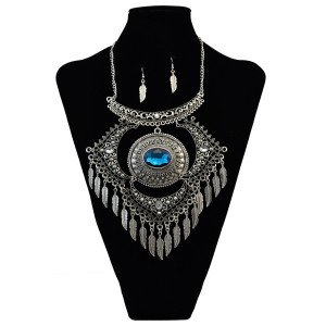 N-6090 European style silver alloy plated rhinestone beads leaf tassel pendant necklace jewelry