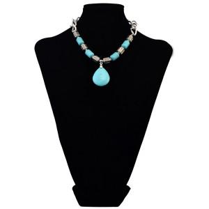 N-6087 Vintage Turquoise Necklaces Heart Pendants Colar Choker Necklaces & Pendants Women Jewelry Silver Accessories