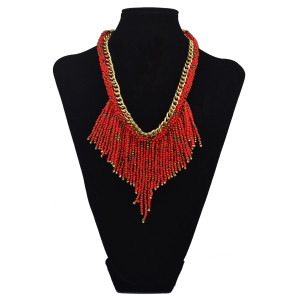 N-6092   2016 New Fashion Bohemian Style Gold Plated Alloy Link Chain Colorful Beads Tassel Choker Bib Necklaces Women Jewelry
