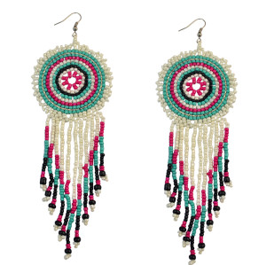 E-3715 New 2016 Fashion Bohemian Green Resin Beads Big Round Tassel Long Dangle Earrings for Women Jewelry