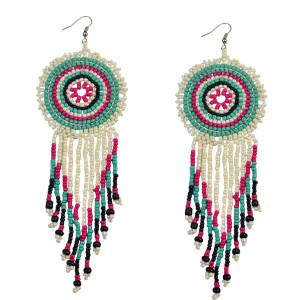 E-3715 New 2016 Fashion Bohemian Green Resin Beads Big Round Tassel Long Dangle Earrings for Women Jewelry