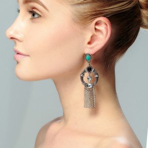 E-3719 new fashion bohemian style 2 colors gold silver plated alloy turquoise beads crystal rhinestone tassel chain dangle earrings females jewelry