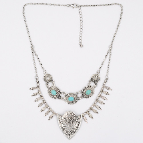 N-6097   Bohemian Vintage Gold/Silver Chain Charm Rhinestone Turquoise Bead Multilayer Geometry Statement Necklace for Women