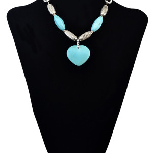 N-6096    new fashion silver plated alloy link chain natural turquoise stone heart pendant necklaces women jewelry