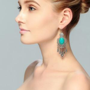 E-3717  Bohemian style retro silver gold plated rhinestone turquoise large pendant earrings jewelry