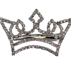 F-0309   Women Lady Girl Fashion Exquisite Silver & Gold Plated Full Crystal Rhinestone Crown Sweet Hairpin Hair Clip