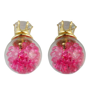 E-3721  new arrival korean fashion popular crystal glass ear stud earrings
