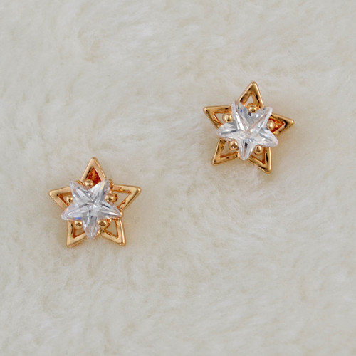 E-3725  Fashion star shape 2 colors silver/gold clear crystal stud earring for girls jewelry