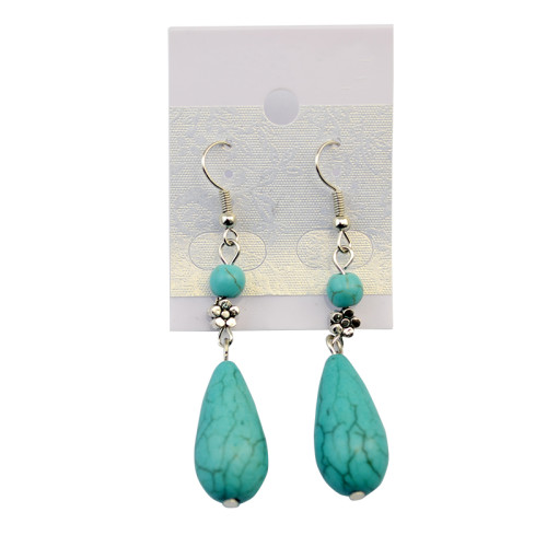 2016 New Fashion Silver Alloy Green Waterdrop Natural Turquoise Long Dangle Drop Earrings For Females Jewelry