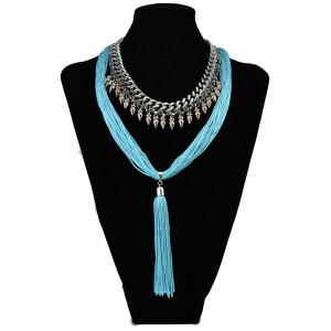N-6106    3 Colors Bohemian Fashion Necklaces & Pendants Gun Black Chain Red Black And Blue Rope Long Tassel Bib Statement Necklace Women Jewelry