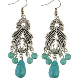 E-3723 Vintage Drop Dangle Hook Turquoise Earring Alloy Beads  Earrings Women's Gift