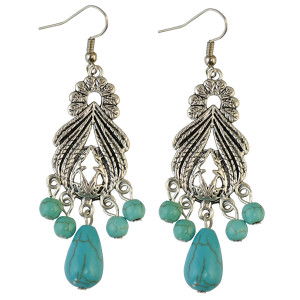 E-3723 Vintage Drop Dangle Hook Turquoise Earring Alloy Beads  Earrings Women's Gift