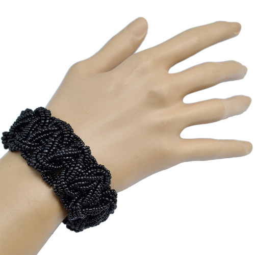 B-0674  Bohemian Tibetan Style Fashion 7 Colors Handmade Beads Wide Adjustable Bracelet for Women Jewelry