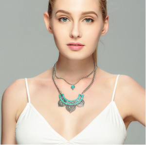 N-6104   New fashion Vintage Chain Charm Rhinestone Turquoise  Multilayer Geometry Statement Necklace for Women