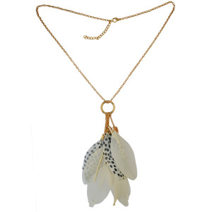 N-6103   2 Colors Green And Beige Fashion Necklaces & Pendants Gold Metal Chain Feather Tassel Long Necklace Women Jewelry