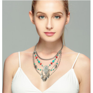N-6102   Bohemian style vintage gold /silver plated turquoise beads leaf tassel multilayer chain pendant necklace