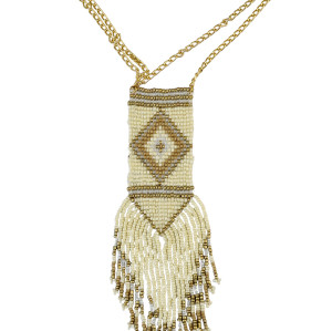 N-6112 Bohemian Fashion Chain Handmade 4 Colors Resin Beaded Long Tassel Statement Necklaces Women Jewelry