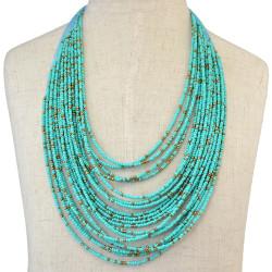 N-6110  6 Colors New Handmade Bohemian Fashion 20 Layers Resin Seed Beads Chain Choker Bib Statement Necklace Women Jewelry