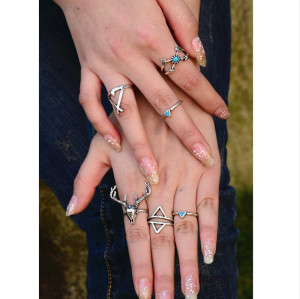 R-1330 7Pcs/set Bohemian Style Vintage Silver Plated Antlers sets Triangle Nail Midi Rings for Women Jewelrylated Elephant sets Triangle Nail Midi Rings for Women Jewelry