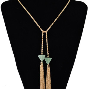New Fashion Long Chain Punk Pendant Alloy Resin Necklace