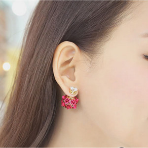 E-3728 New Arrival Korean Fashion Popular Crystal Glass Ear Stud Earrings