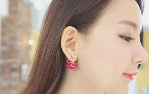 E-3728 New Arrival Korean Fashion Popular Crystal Glass Ear Stud Earrings