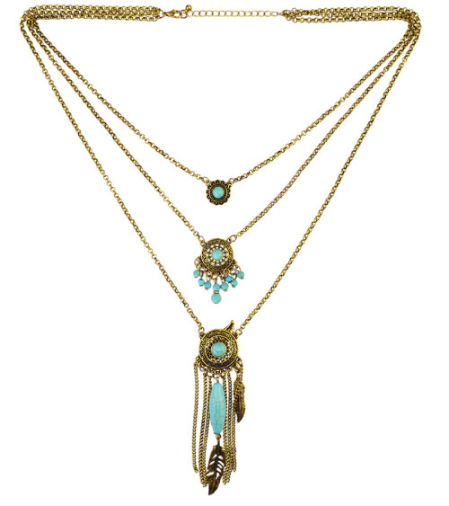 N-5722 Bohemian style multi layer chain turquoise beads drop tassel metal leaf feather vintage boho ethnic long pendant necklace