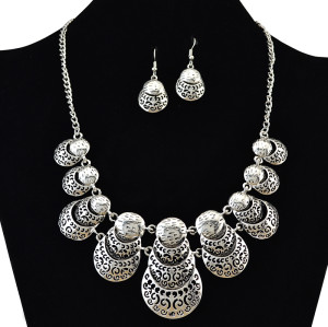N-6115  Bohemian retro silver plated beatles shape statement necklace earrings set