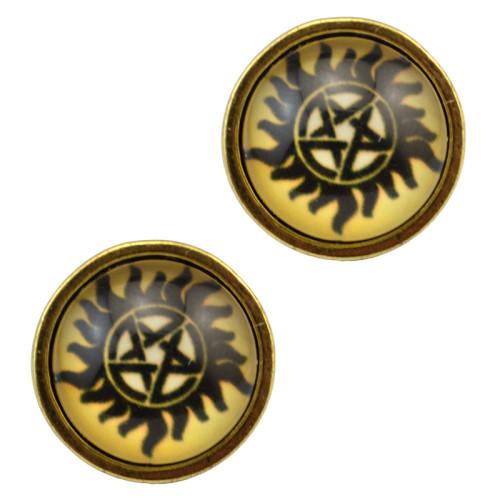 E-3729 vintage style bronze clear Pentagram eyes fashion earrings stud jewelry