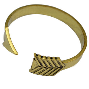 B-0671 Vintage Gold Bangle Cuff Bracelet Mystery Engraved The Mockingjay Lives Polished