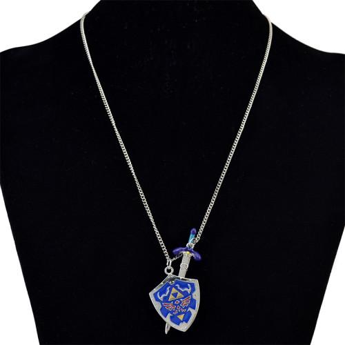 N-6120  Men New Ancient Silver Shield Sword  Vintage Chain Pendant Necklace Wholesale