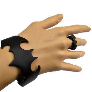 B-0676  R-1333  Punk Personality Black Finger Ring Bangle Cuff Bracelet  (Ring+ Bracelet) Jewelry Set