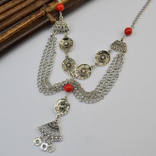 N-6126 3 Colors Bohemian Vintage Silver Coin Geometric Bib Choker Turquoise Tassel Earring Long Necklaces Set Women Jewelry