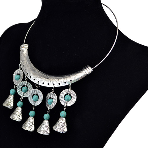 N-6124 Bohemian Silver Plated Tassel Pendant Inlay Turquoise Bib Choker Collars Necklace for Women