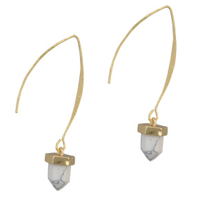E-3732  Vintage Gold Plated Turquoise Drop Dangle Hook Earrings Ear Jewlery