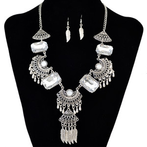 N-6127 Bohemian Coin Earrings Jewelry Sets for Women Antique Silver Long Tassel Moon Necklaces Pendants