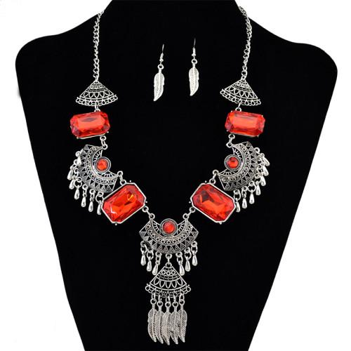 N-6127 Bohemian Coin Earrings Jewelry Sets for Women Antique Silver Long Tassel Moon Necklaces Pendants