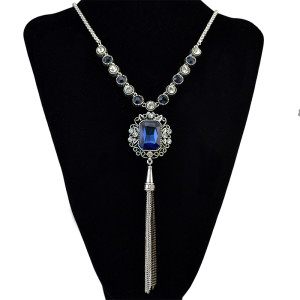 N-6132 Bohemian Vintage Silver/Gold Chain Green Turquoise Bead Charm Rhinestone Arrow Pendant Necklace for Women Jewelry